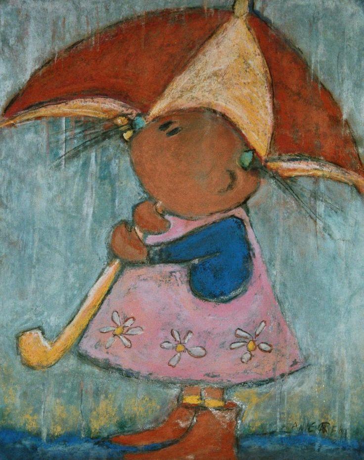 Onder Paraplu   Pastelkrijt