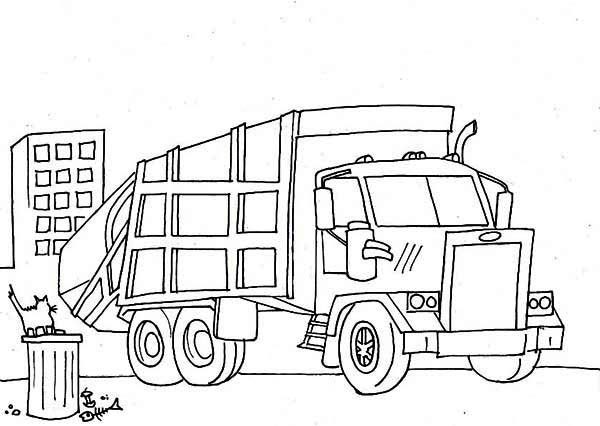Garbage Truck Semi Truck Coloring Page