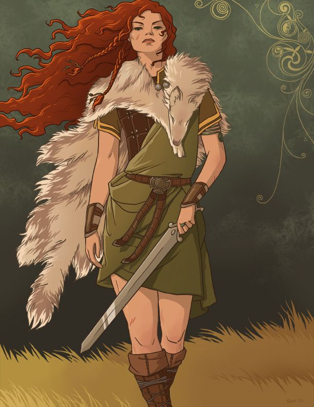 tamiart:  Boudicca, Celtic warrior queen of the Iceni people of Eastern England. After the Romans took their land, stripped her, flogged her and raped her daughters, she led a rebellion against them, destroying several cities and armies in the process. Badass.