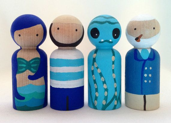 Sea Captain and Kraken Peg Doll Set  the Mariner by PeggedByGrace, $28.00