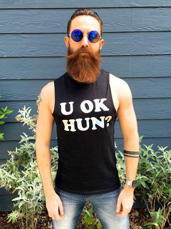 Noir coupé réservoir U HUN OK ? Impression de T-Shirt holographique