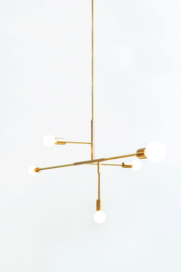 Pin 5.  Cliff Suspension Pendant. Brass. Stunning contemporary pendant light. On trend with a nod to the 60's