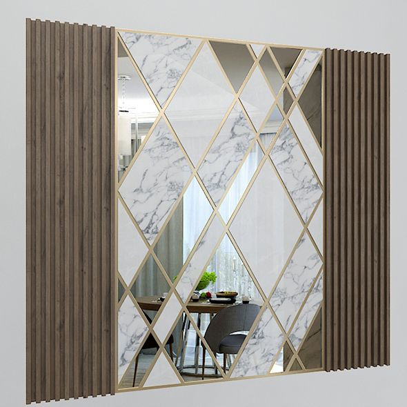 Wall Decorate Panel With Mirrors Marble And Wood 3docean Item For Sale Mirror Design Wall Feature Wall Design Wall Design