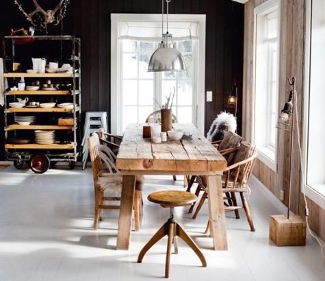 eating areaDining Room, Interiors, Kitchens Tables, Rustic Tables, Diningroom, Wood Tables, Wooden Tables, Dark Wall, Black Wall