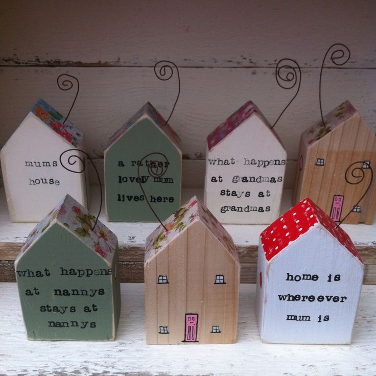 https://www.facebook.com/pippa.fitzgerald.artist/posts/866244706834589 Little Wooden Houses by The Pip House. Personalised Mothers Day gifts - your choice of colour and wording