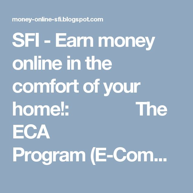 SFI - Earn money online in the comfort of your home!:       The ECA Program(E-Commerce Associat...