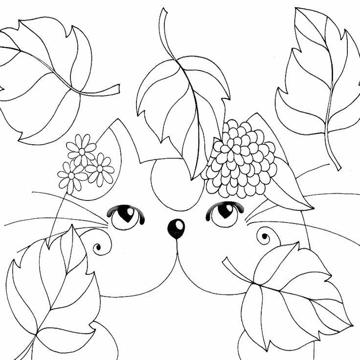 kleurplaatkaart in de herfst sk kleurplaten katten