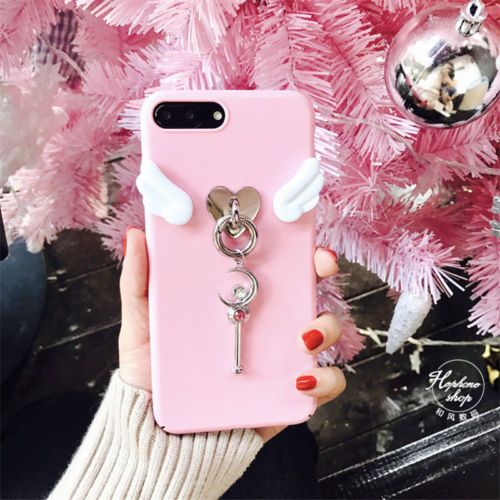 For iPhone 7 6S Plus Trend Cute cartoon Sailor Moon pink Angel wings case  Cover 49af2eed9