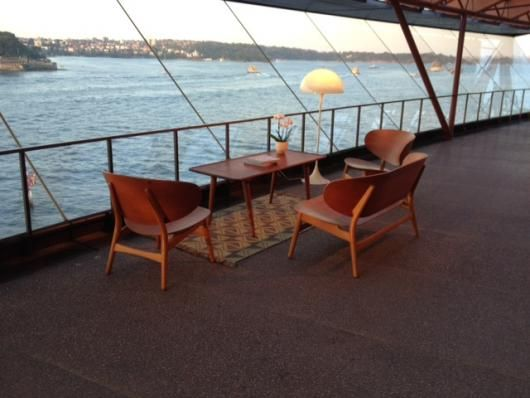 Authentic Hans Wegner Shell sofa set. A very rare 3 piece set designed by Hans Wegner in 1949, produced by Fritz Hansen.  Pictured in situ at an event at the Sydney Opera House recently.  In its Element.  Sitting wìth a Danish rug by Grundig, a Panthella lamp designed by Verner panton, produced by Louis Poulsen, and a Hans Wegner solid oak and teak sofa table by Andreas Tuck.