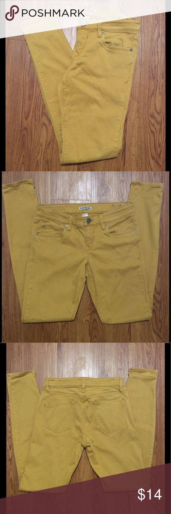 Mustard Yellow  Skinny Jeans Express, size 4, good stretch. Lightly used, good condition Express Jeans Skinny