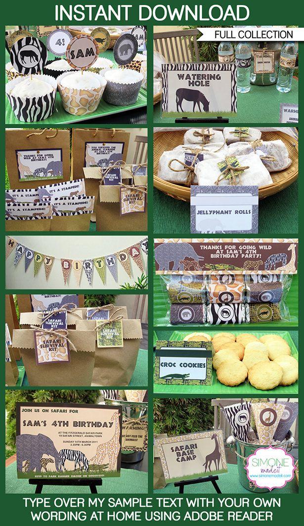 Safari Party Printables, Invitations, Decorations | Animal Safari | Jungle | Zoo | Birthday Party | Editable DIY Theme Templates | INSTANT DOWNLOADS $12.50 via SIMONEmadeit.com