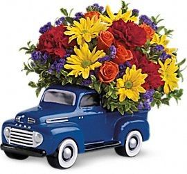 """☺ FDH 48 #Ford_Pickup_Bouquet ☺  Beep, beep! Say """"Happy Birthday,"""" """"Happy Father's Day,"""" or """"Keep on Truckin'!"""" to your favorite car buff with this whimsical bouquet, arranged in a reusable keepsake that will look great on his desk for years to come.  For More Details Visit - http://flowersdeliveryhouston.com/houston-florist/occasions/new-baby-flowers/fdh-48-ford-pickup-bouquet"""