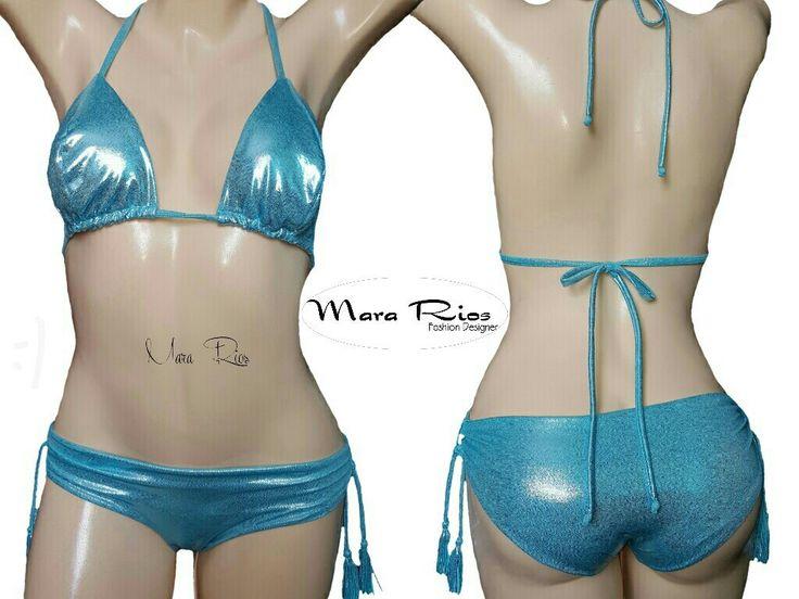 Bikini azul metálico, traje de baño azul
