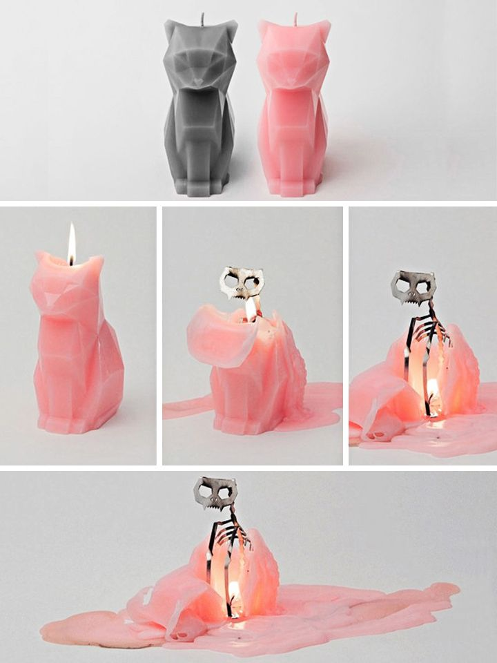 """""""Kisa Pyropet"""" Cat Candle (Light Grey) is possibly the best thing I've seen on the web in a long time"""