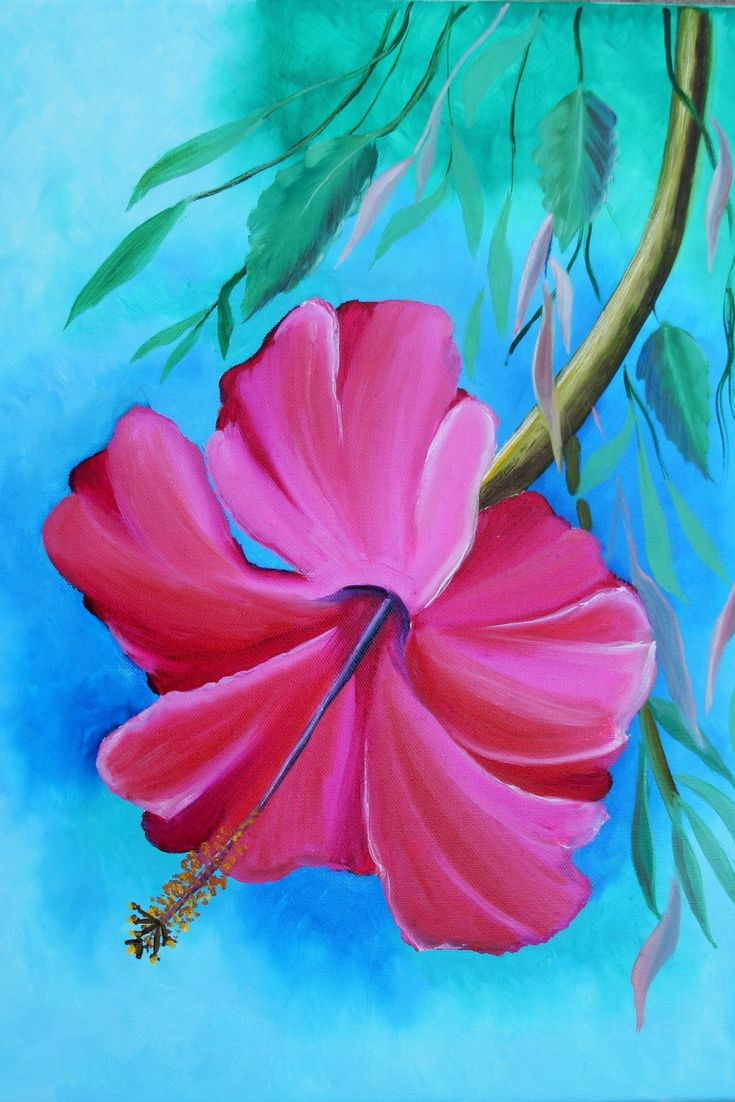 """Hibiscus. Original Oil Painting on Canvas. Wall Art. Wall Decor. Canvas Painting. Wall Decoration. Modern Art. Gift for Her. Contemporary Art. Large Painting. 16"""" x 20"""". 40 x 50 cm. 2016 Unframed. AVAILABLE FOR IMMEDIATE PURCHASE.   This gorgeous piece could be hung vertically, horizontally, or upside down. The signature is on the back. Display it in your own house or office to brighten up any room. It will make a great gift, too.   The materials I use, including canvases, paints and mediums…"""