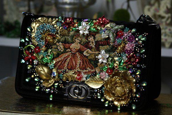 SOLD! 761 Victorian Tapestry Embellished Le Boy Handbag