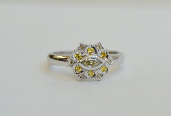 White Gold Ring Diamond Ring Petal Ring Marquis by yvonneraley