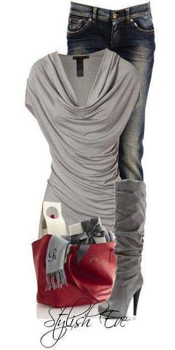 grey red and denim ♥✤   KeepSmiling   BeStayFestive