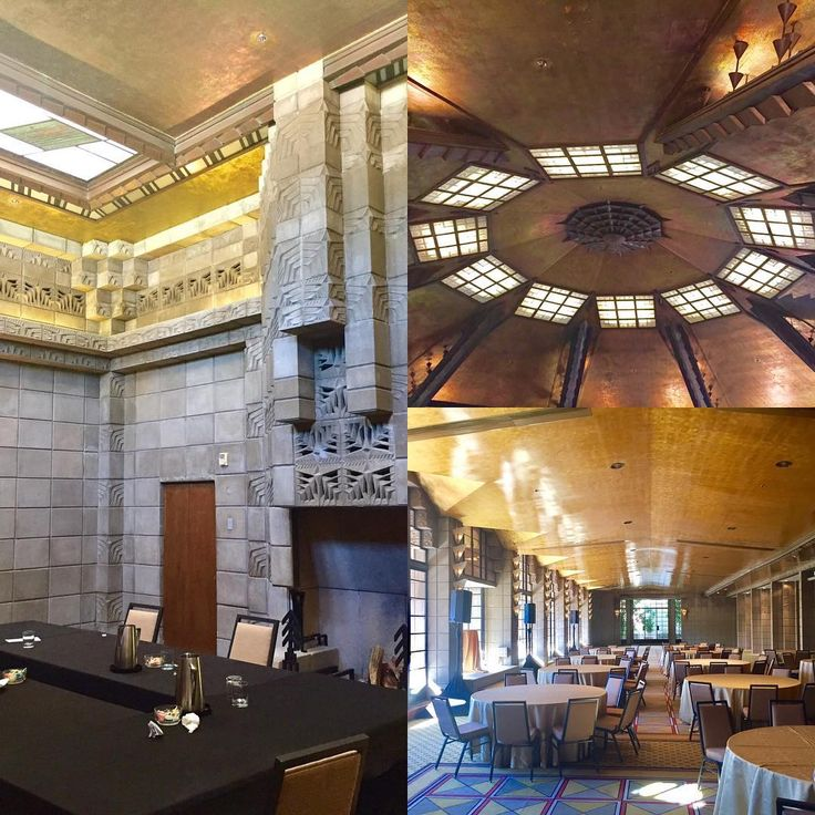 Az Biltmore design inspired by Frank Lloyd Wright. Learned the unique  history of the resort in the historical tour. Pics clockwise: mystery (bar) room used during prohibition Aztec room gold leaf ceiling gold room used for formal dining. 1st resort in #arizona. #biltmore #scottsdale  _____________________________________________________  #socialmedia #socialmediamarketing #smm #marketing #socialmediatips #smallbusiness #businesswomen