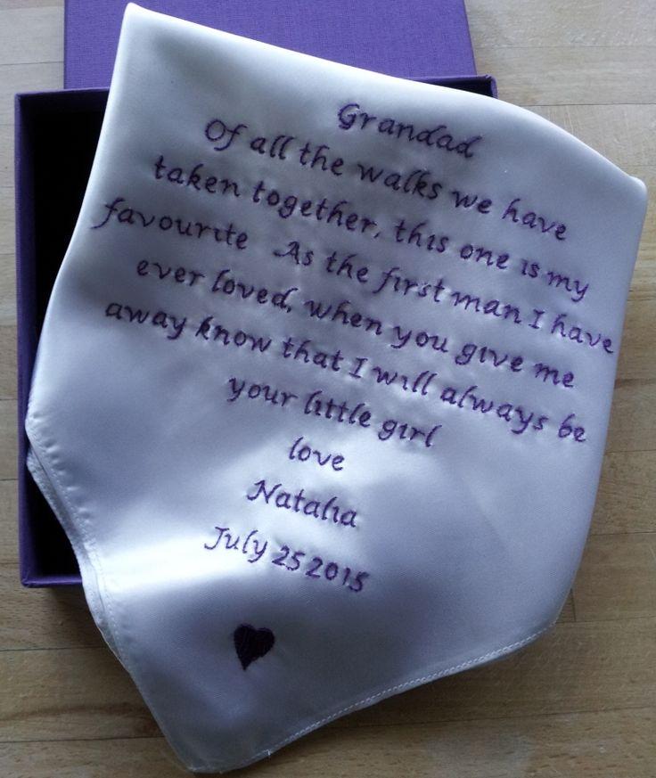Hand embroidered Silk Grandad handkerchief by Beautiful Unique