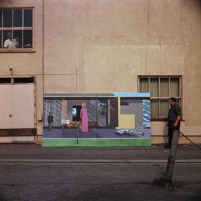 wandrlust:  David Hockney painting on the street, Los Angeles, 1970 — Frank J. Thomas