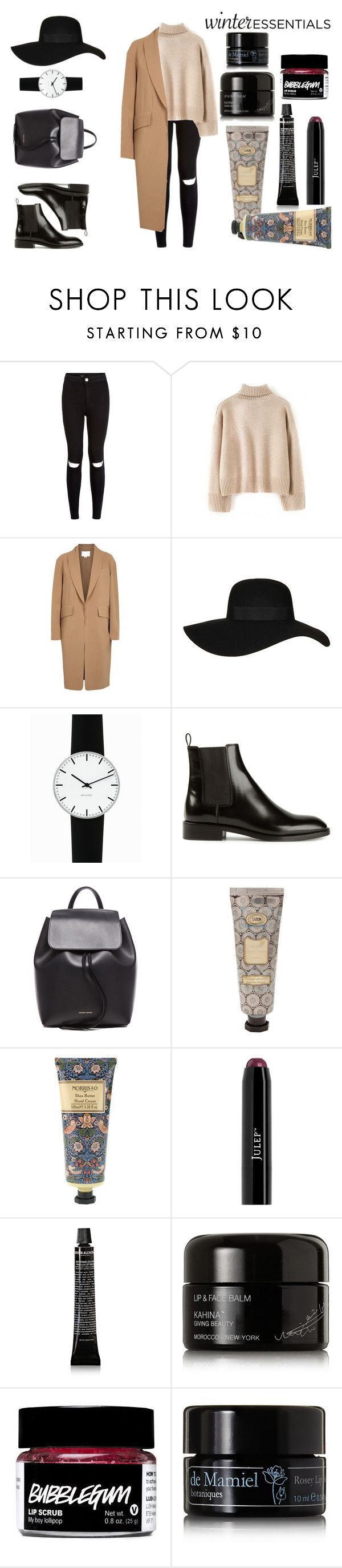 """Winter Essentials!!"" by eirini-kastrou on Polyvore featuring Alexander Wang, Topshop, Rosendahl, Yves Saint Laurent, Mansur Gavriel, William Morris, Grown Alchemist, Kahina Giving Beauty and de Mamiel"