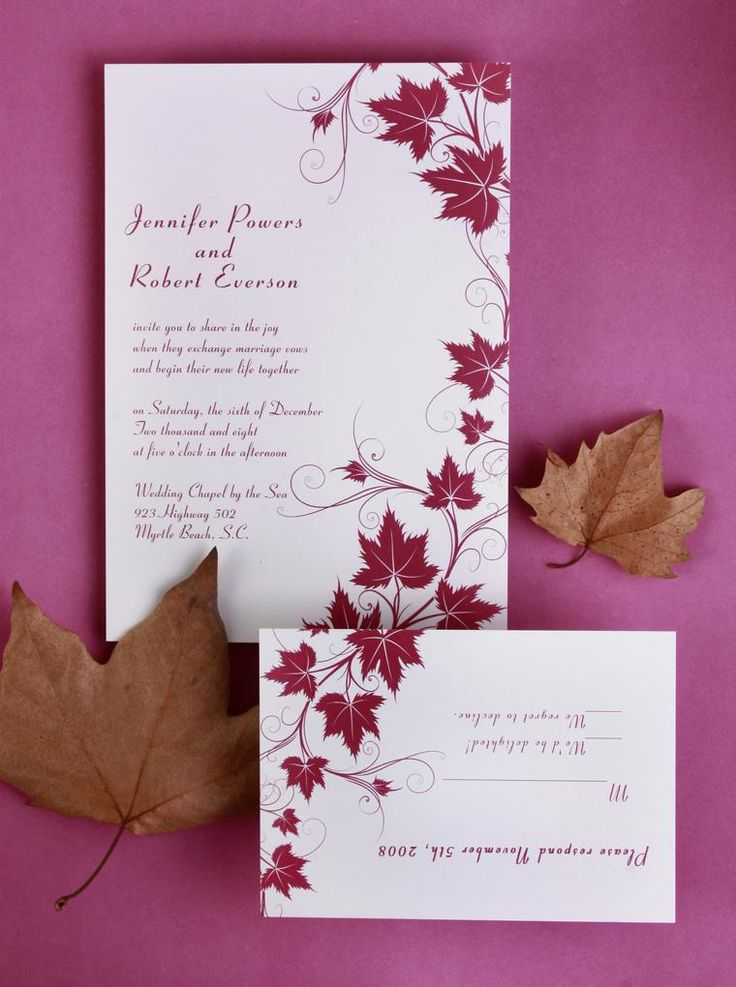 best price wedding invitations%0A cheap modern red maple leaves wedding invitations with free response cards