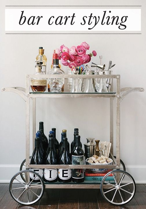 A bar cart is a fun way to easily move your entertaining indoors or outdoors this fall.