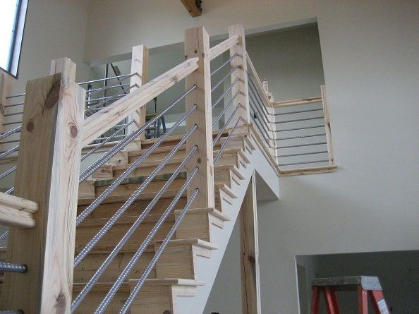 woodworking home cable rail staircase, stairs | projects ...