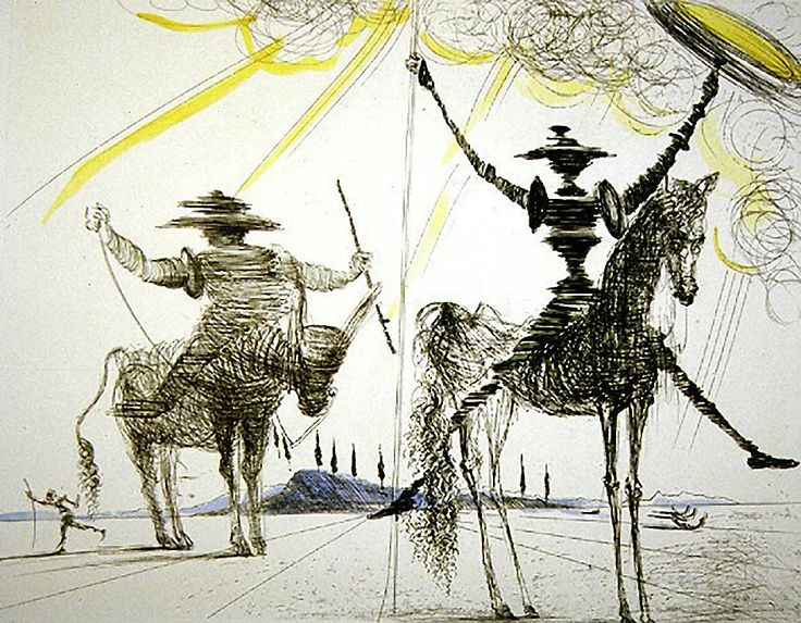 PIctured above, a lithograph from the 1957 edition ofDon Quixote, illustrated by Salvador Dali (1904-1989) 'To much sanity may be madness. ...