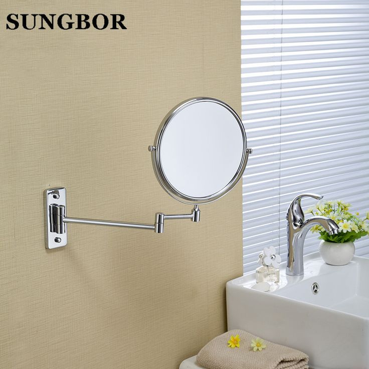 Photo Image Wholesale And Retail Bathroom Wall Mounted Chrome Mirror Beauty Makeup Mirror Dual Sides Round Mirror Magnifying Mirror