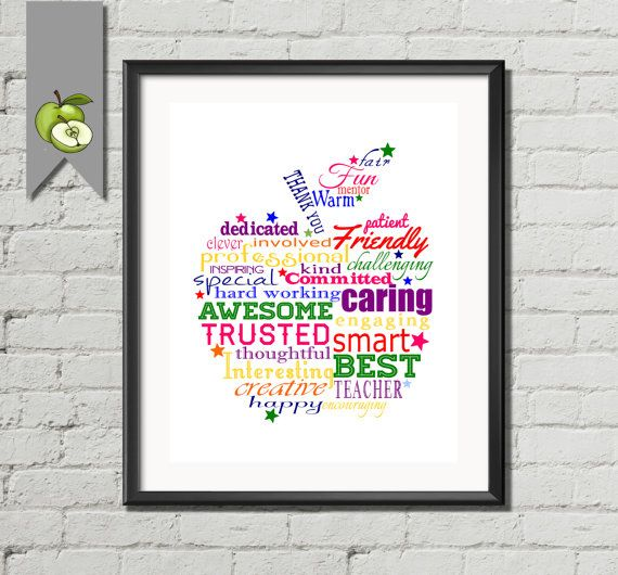 Word art apple , Thank you Apple, Teacher Appreciation gift, Rainbow word art, custom, printable, retirement, long service, thank you, gift