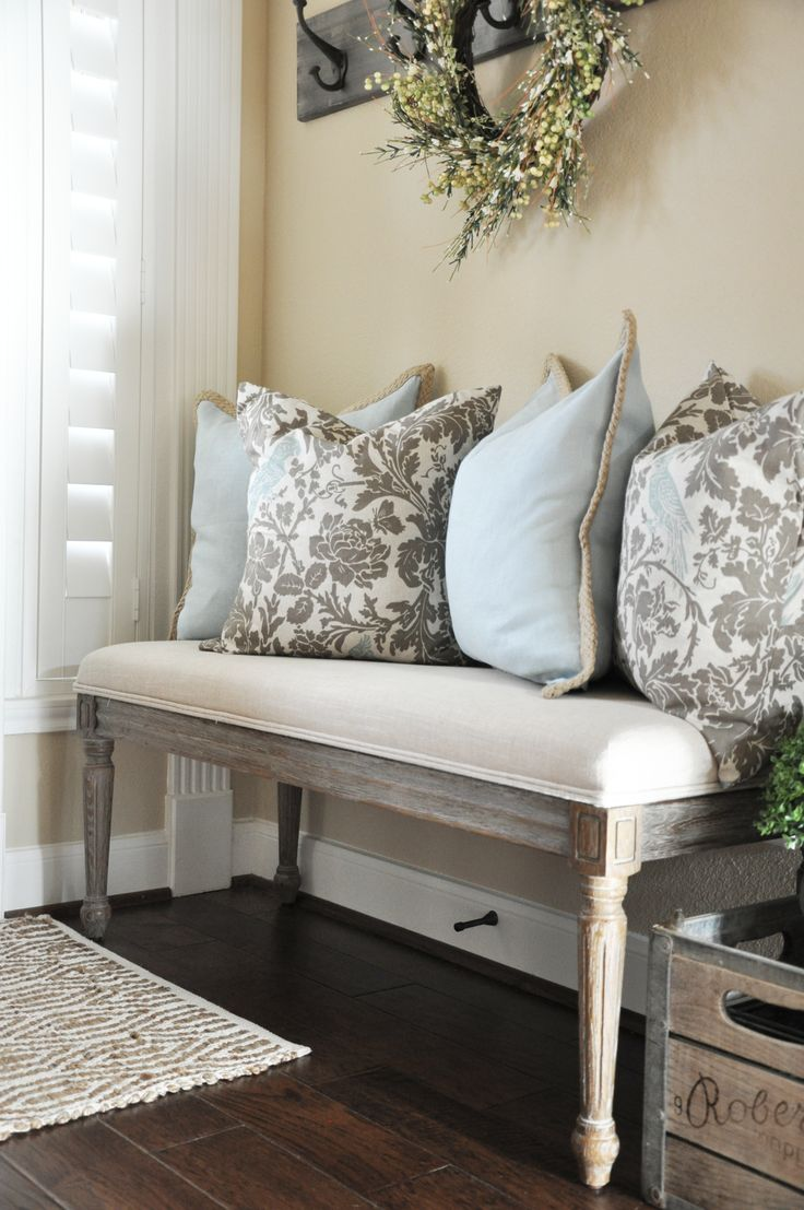 Entryway bench with throw pillows - love!