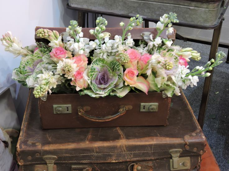 A suitcase full of flowers