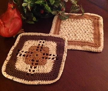 In the Kitchen with Handmade - Dishcloth, #crochetdishcloth, kitchen towel, potholder in tans and browns by #OnceUponARoll for $10.80