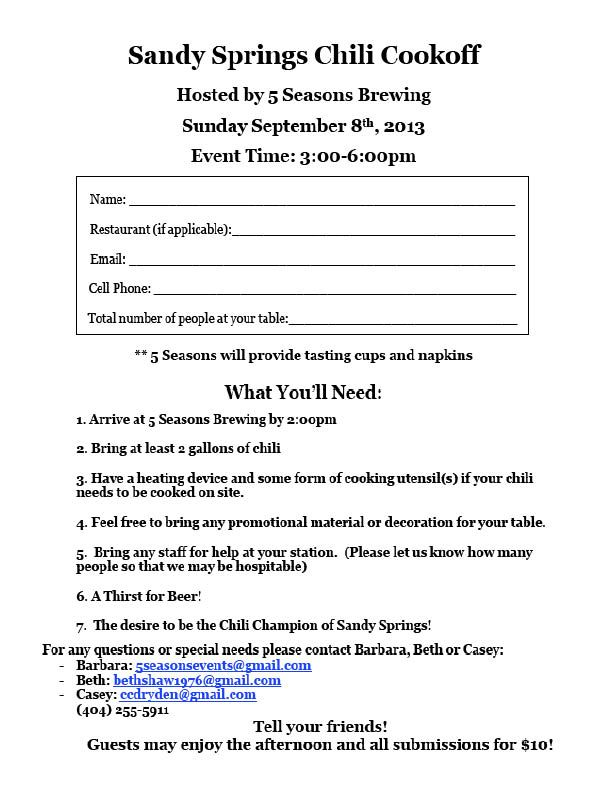 chef form for chili cookoff enter to win fame and fans events at