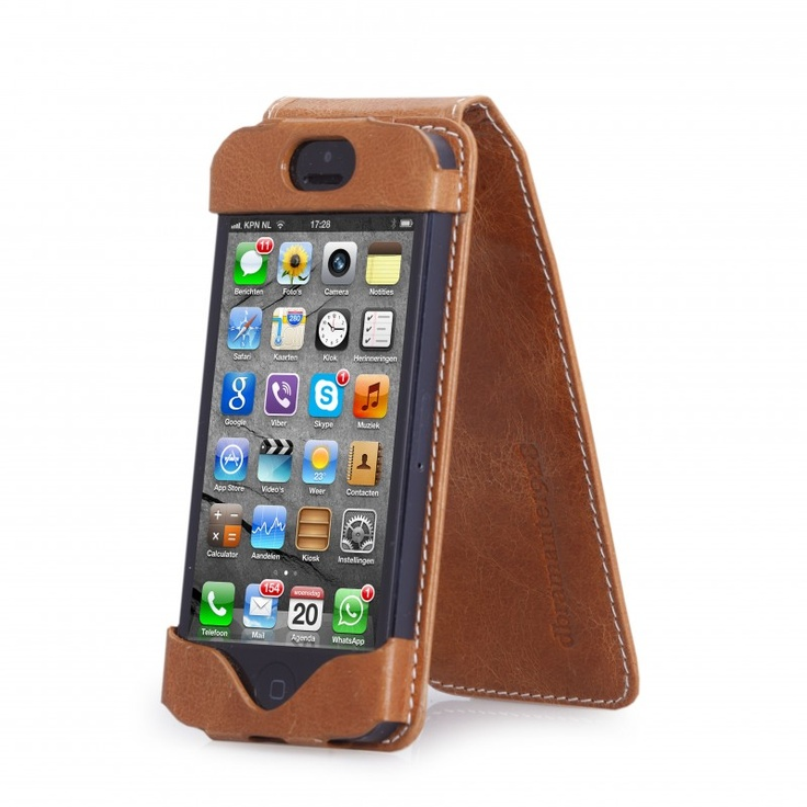 Golden tan leather flip case for iPhone 5 by dbramante1928. Price: $50. More information: www.dbramante1928.com.