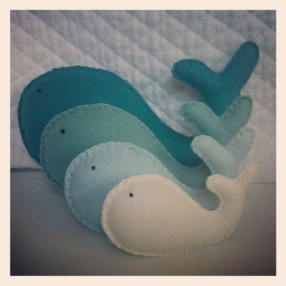 Cute Ombre Whales Pillow-Would be cute in pinks or blues:)