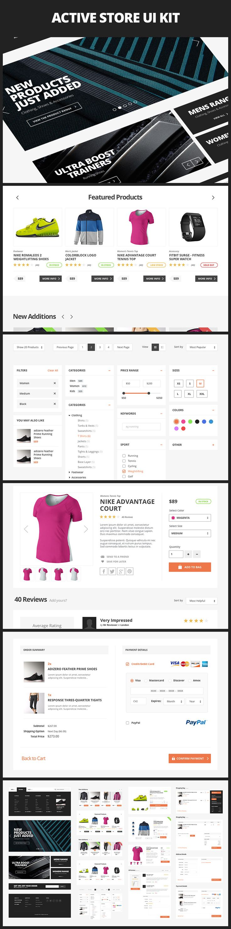 Active Store UI Kit is a collection of big, bold and clean user interface elements for ecommerce projects. Included are navigation and promo blocks, catalog elements, product cards, cart/checkout pages and many more flat UI elements. All of the included elements have been meticulously designed with vector shapes in Photoshop and fit neatly into a 12 column grid.