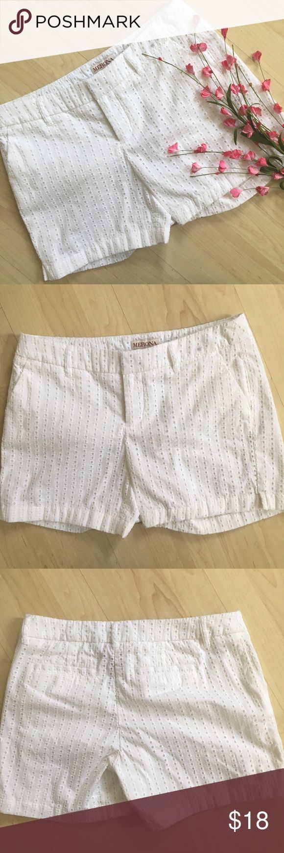 "NWOT white eyelet shorts 5"" inseam White eyelet shorts in like new condition! They have ever been worn! Merona Shorts"