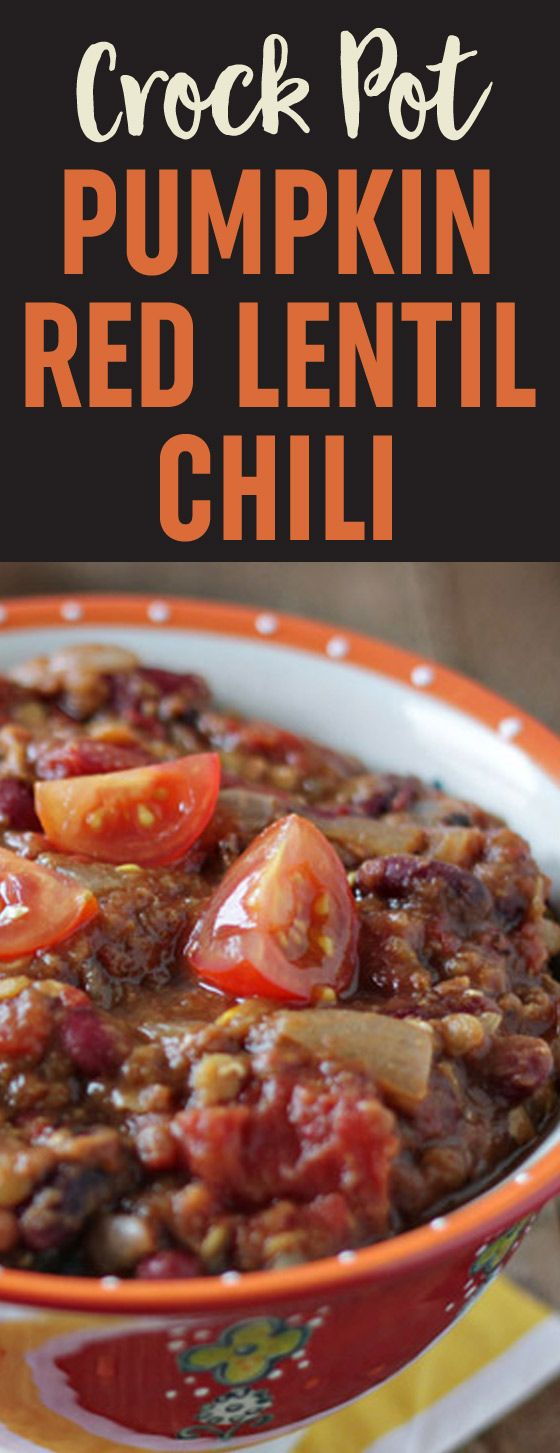 Crock Pot Pumpkin Red Lentil Chili recipe - This thick, hearty vegetarian chili is just different enough to be special, but still tastes mainstream enough to appeal to most everyone. It's the perfect fall chili! Vegan.