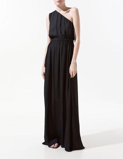 Grecian maxi dress: Long Black Dresses, Long Dresses, Asymmetrical Dresses, Black Ties Dresses, Black Maxi Dresses, Black Gowns, Greek Style, Stunning Dresses, Zara Dresses