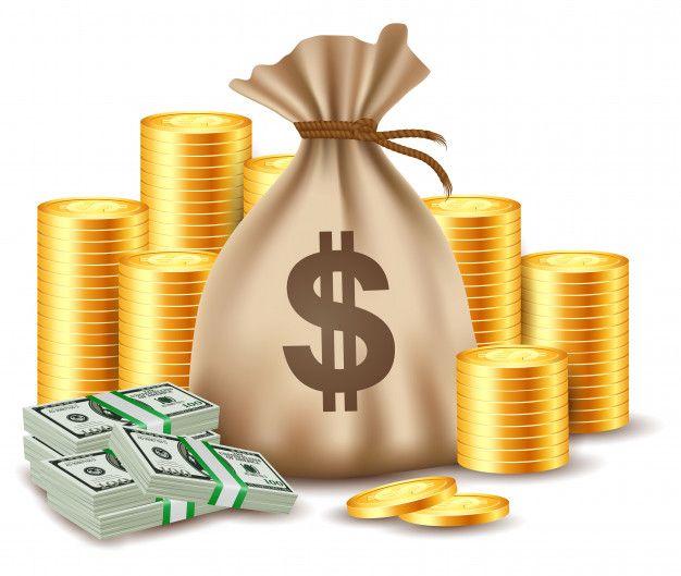 Stacks Of Coins And Money Bag Money Bag Money Design Cake Printing