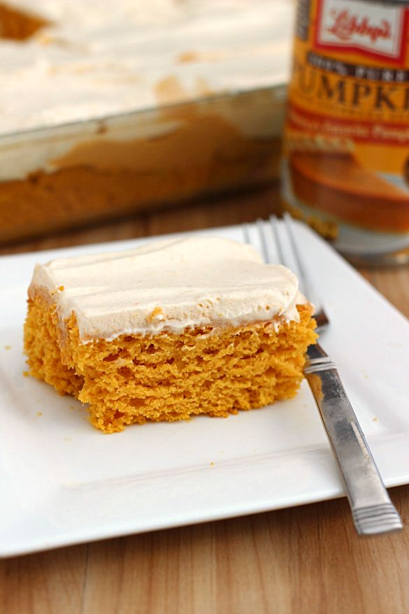 Skinny Pumpkin Butterscotch Poke Cake- Because I love using pumpkin to make desserts year round, I used canned pumpkin as a substitute in one of my favorite types of cakes, poke cakes.  This is a great pumpkin cake poked with butterscotch pudding with whipped topping on top. #PumpkinCan