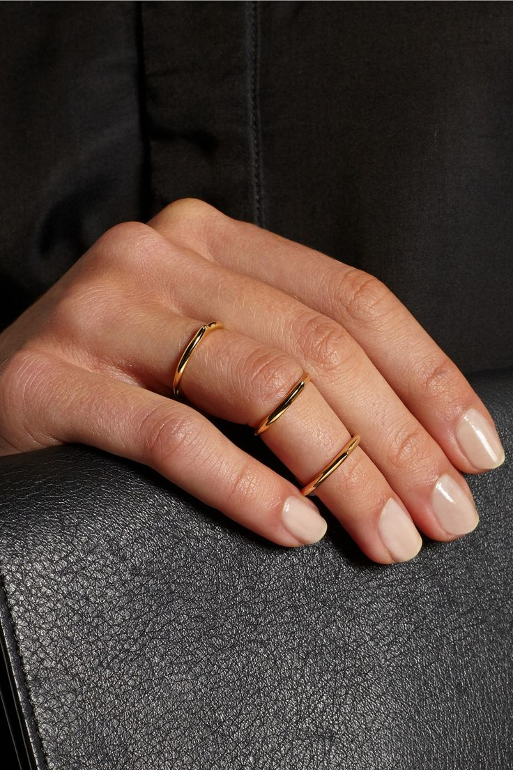 Jennifer Fisher | Mini Peak set of three gold-plated rings | NET-A-PORTER.COM