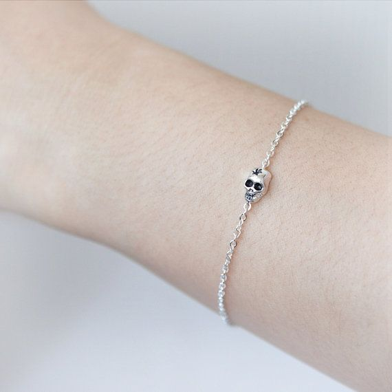 Tiny Skull Bracelet / Choose your color / gold and by laonato, $15.00