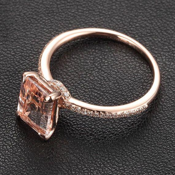 CLAW PRONGS 14K Rose Gold Emerald Cut Morganite Ring .16ct  Pave Diamond Engagement Ring Wedding Ring