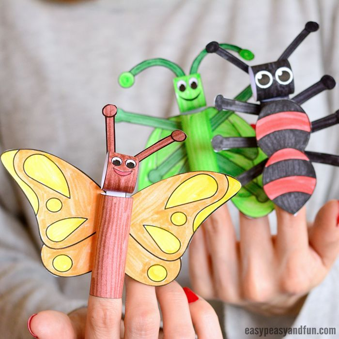 Printable Bugs Finger Puppets | Finger puppets, Puppets for kids ...