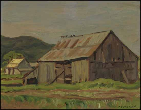"""""""Barn at Émileville, Que.,"""" Alexander Young (A.Y.) Jackson, oil on board, 10 1/2 x 13 1/2"""", private collection."""