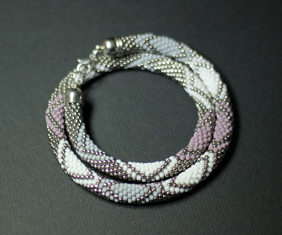 Pastel Colors Bead Crochet Necklace Silver and by HeriniaJewelry